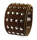 "Best Jasmine Of The Bangles - (LSB002) 1.8"" Wide Brown Studded Punk Rock Biker Review"