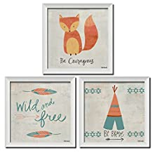 "Popular Adorable ""Be Brave,"" ""Be Courageous"" ""Young and Free"" Fox, Feathers Arrows and Tipi Framed Set ; Perfect for a Childs Room or Nursery- Three 12x12in White Framed Prints"