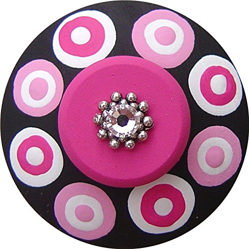 Hand Painted Jeweled Black White & Pink Polka Dots Decorative Dresser Furnitue Kids Childrens Nursery Room Art Decor Wood Drawer Knob Cabinet Hardware (Polka Knob Pink Dots)
