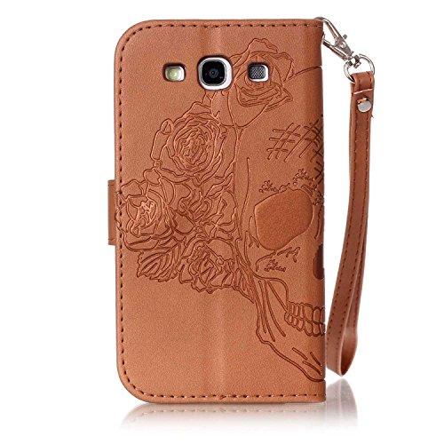 Samsung Galaxy S3 i9300 PU Cuero Funda (Con Gratis Pantalla Protector) KaseHom Atrapasueños Pluma Patrón DiseñoGrabado en RelieveEstilo de libroFolioFlip MagnéticoFunción de Soporte de Cierre con Marrón # 1