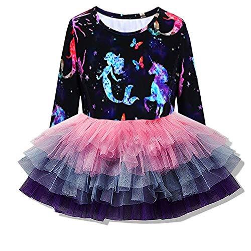VIKITA Toddler Girl Starry Fairy Mermaid Purple Rainbow Tutu Winter Long Sleeve Party Dresses for Girls(LH4593, 8 Tall)