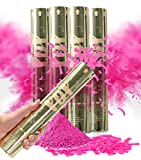 Revealations Gender Reveal Confetti Powder Cannon - Set of 4 Pink Gender Reveal Party Supplies Confetti Poppers - 100% Biodegradable Tissue Safe Powder Smoke Cannons