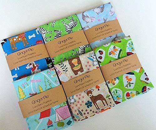 (Lunchbox Small Kids Napkins, Pick Your Prints, 12x12 inches, Cotton Single Ply Napkins, Set of 6)