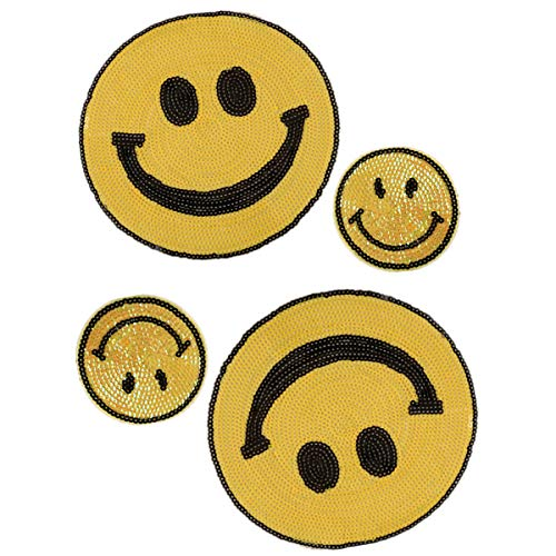 4 Pack Jumbo Emoji Iron on Patches Sew Embroidered Sequin Appliques Embellishments for DIY Motif Family Xmas Tops Home ()