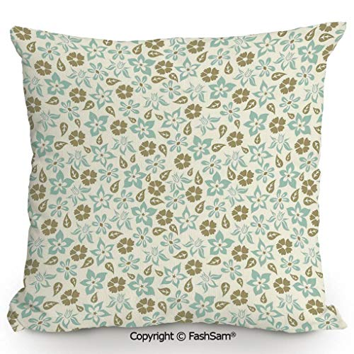 (FashSam Home Super Soft Throw Pillow Spring Meadow Inspired Pattern with Tulips Daisies Pansies Bedding Plants for Sofa Couch or Bed(18