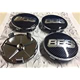 4X BBS Carbon Fibre Black/Silver Alloy Wheel Centre Caps 68mm Badge 3D Logo