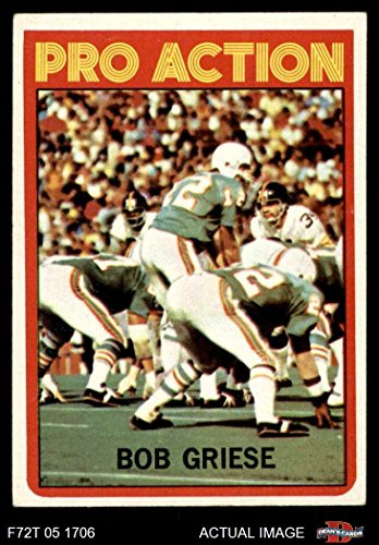 1972 Topps # 132 Pro Action Bob Griese Miami Dolphins (Football Card) Dean's Cards 5 - EX Dolphins
