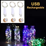 LED Bottle Lights Cork, Multicolor Change Flicker, USB Powered Rechargeable, 4.6ft with 15 LED Wine Bottle Lights, Copper Wire String Starry Lights for Home Wedding Halloween Christmas Party (3 PCS)