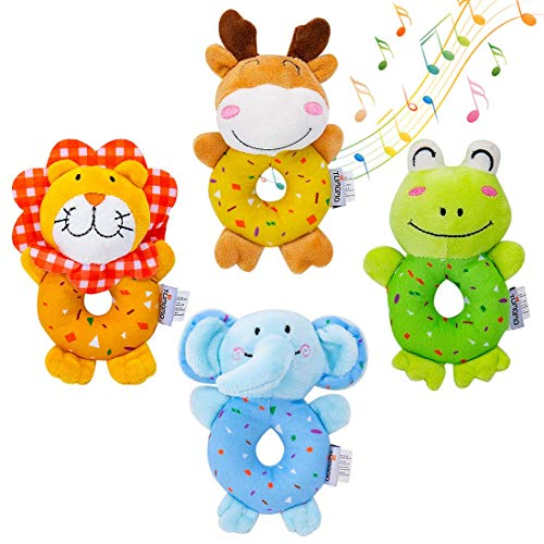 TUMAMA Baby Soft Plush Stuffed Animal Rattles, Handheld Development Toys for Toddlers - 4 PCS ()