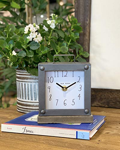 Rae Dunn Desk Clock - Battery Operated Modern Rustic Design with Wooden Base, Top Handle for Bedroom, Office, Kitchen - Small Classic Analog Display - Chic Home Décor for Desktop Table, Countertop - ELEGANT DÉCOR: Rae Dunn's metal and wood clock makes any room feel cozy and pleasant. Made in beautiful color schemes and tones. This gorgeous clock is a wonderful addition to any workspace, bookshelf, living room, office, kitchen, or bedroom. PORTABLE AND BATTERY-POWERED: Battery power lets you take your Rae Dunn clock anywhere! Requires just one AA battery (not included) to power the clock for months at a time. No need to change batteries frequently. Be on time to anywhere! CLASSY STYLE: A beautiful smooth dark metal housing sits above a sturdy wooden base piece. Featuring Rae Dunn's signature font that's unique, elegant and easy to read. Enrich your environment with the latest in contemporary interior design accessories. - clocks, bedroom-decor, bedroom - 51DVrJGMWsL -