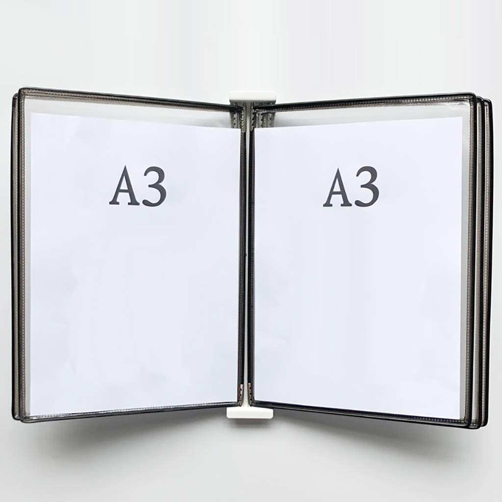 QSJY File Cabinets Wall Mounted A3 Poster Flip Book Display Black,Wall-Mounted Loose-Leaf Transparent Page Display Stand (PVC + Metal) 45335CM (Color : L)