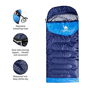 Camel Outdoor Camping Sleeping Bag Lightweight Portable Waterproof Perfect Traveling Hiking Activities 2.43 lb Color Navy Blue(Right Pack)