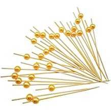 "PuTwo Cocktail Picks Handmade Bamboo Appetizer Toothpicks 100 Counts 4.7"" Yellow Pearls"