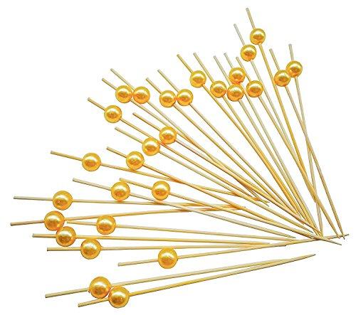 PuTwo Cocktail Picks Handmade Bamboo Appetizer Toothpicks 100 Counts 4.7
