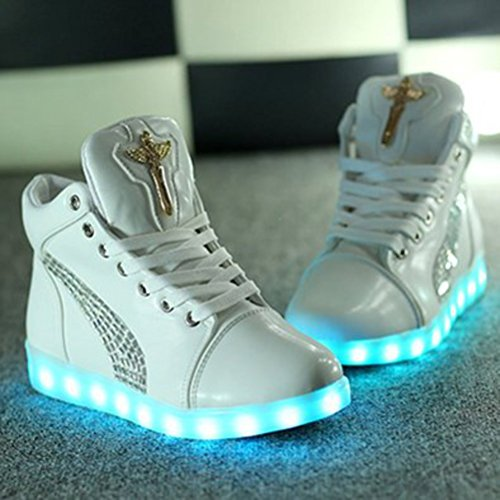 [Present:small towel]JUNGLEST® 7 Color USB Charging LED Light Flashing High Shoes for Lovers Boys Girls Men Women (Ship c40 bpxpVWwf