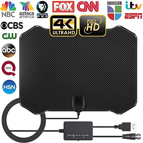 Hawiton TV Antenna, TV Digital HD Indoor Antenna- Amplified HD Digital TV Antenna for Smart TV Long 200 Mile Range Smart Switch Amplifier Signal Booster Support 4K 1080p Fire TV Stick & All Digital TV