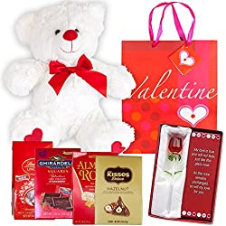 Valentines Day Gift Basket Set | 12 Teddy Bear Plush, Lindt Lindor Milk Truffles, Hershey Kisses Hazelnut, Ghirardelli Dark Strawberry Chocolate, Almond Roca, Glass Rose Flower, Poem & V-Day Gift Bag
