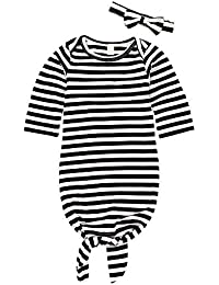 844ffd31ddc Newborn Gown Knotted Infant Nightgown Sleepers Romper Headband Comfortable  Striped Long Sleeve Sleeping Wrap Sacks