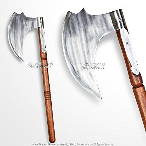 Medieval Gears Brand 28'' Iron Short Viking Battle Axe Medieval Saxon Hatchet LARP Renaissance Costume by Medieval Gears