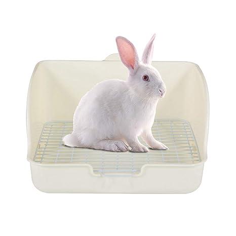 TEEPAO Caja de Arena para Conejo, Orinal con Rejilla, Jaula de Conejo, Inodoro esquinero, Orinal Cuadrado para Adultos cobayas, Hurones, galesaur, ...
