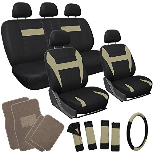 OxGord 21pc Black & Tan Flat Cloth Seat Cover and Beige Carpet Floor Mat Set for Car Pick-Up Truck SUV Van Sedan Hatchback , Airbag Compatible, Split Bench, Steering Wheel Cover Included
