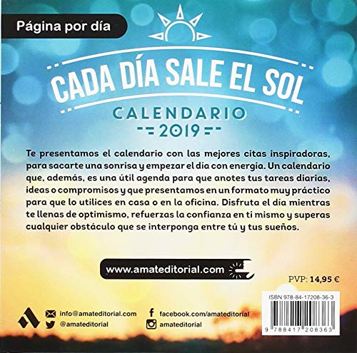 Calendario Cada dia sale el Sol 2019: Amat Editorial ...
