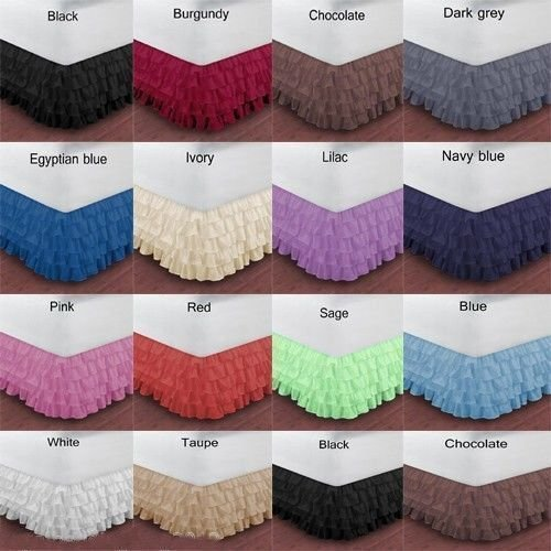 BED SKIRT CHOCOLATE SOLID SELECT DROP LENGTH ALL US SIZE 1000 TC EGYPTIAN COTTON