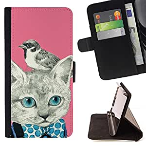 For Samsung Galaxy S5 Mini, SM-G800 Kitty Kitten Bird Pink Bowtie Beautiful Print Wallet Leather Case Cover With Credit Card Slots And Stand Function