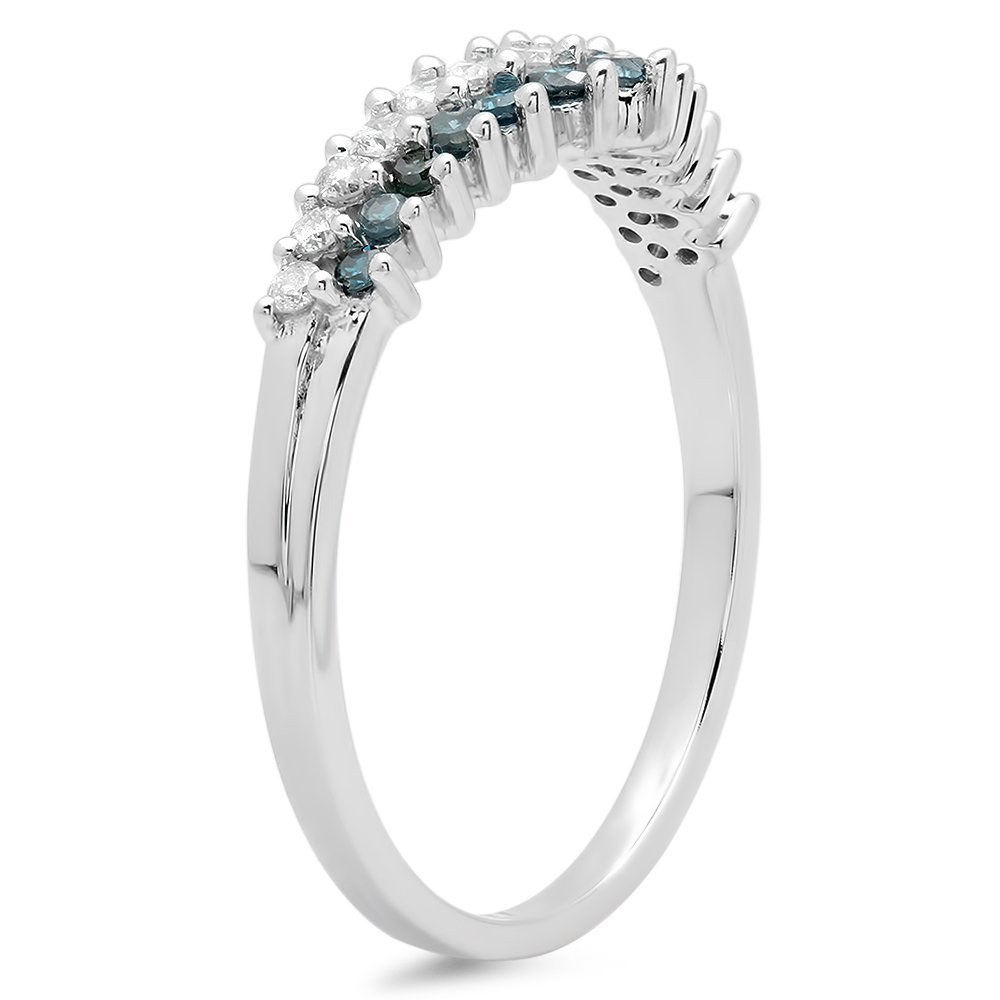 ctw 10K Gold Round White /& Blue Diamond Ladies Wedding Anniversary Chevron Ring 1//3 CT Dazzlingrock Collection 0.35 Carat
