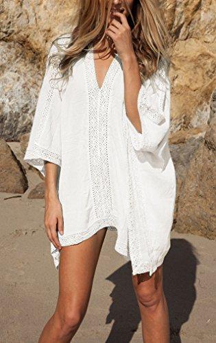 Vestiti Donna Estivi Copricostume Mare Eleganti Corto Manica 3/4 Mazza Manica V Scollo Sciolto Estivi Copricostumi E Parei Beachwear Bikini Cover Up Bianco
