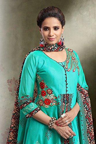 Da Facioun Readymade Indian Women Designer Partywear Ethnic Traditonal Dress. Da Facioun Design Ready-made Femmes Indien Partywear Ethnique Robe Traditionelles. Teal Sarcelle
