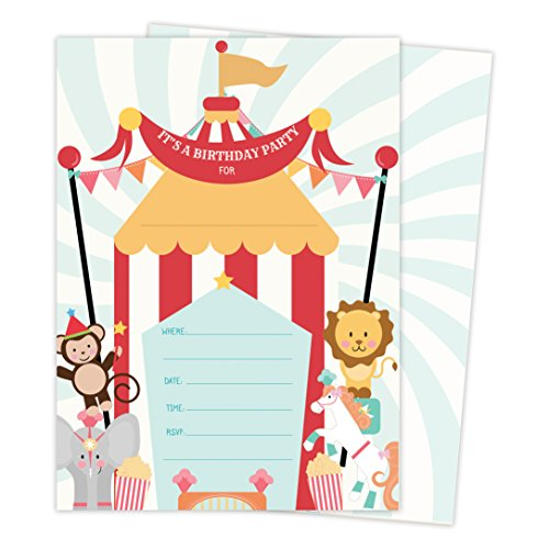 Carnival Circus Invitations Invite Cards (25 Count) with Envelopes & Seal Stickers Boys Girls Kids Party (25ct) ()