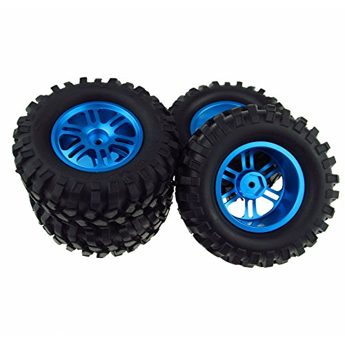 Blue RC Crawler Tires Tyre & Wheel 12mm for 1/10 RC Rock Racer Car Pack of 4