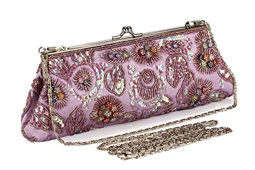 Lock Evening Vintage Women's Clutch Bag Beaded Hand Pink Dress Kissing Cheongsam Grab Jewels wITqRXdq