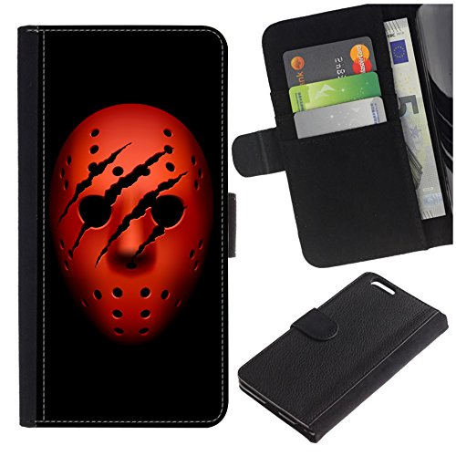 [Red Ice Hockey Horror Mask with Traces of Claws] for Samsung Galaxy J7 V J727V / Galaxy J7 Perx J727P, Flip Leather Wallet Holsters Pouch Skin Case