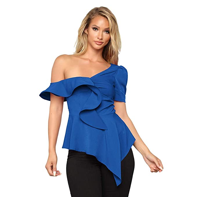 129830f3fc6 Fashion New Blouse Tops, One Shoulder Top,Womens Formal Irregular Ruffles T  Shirts Solid