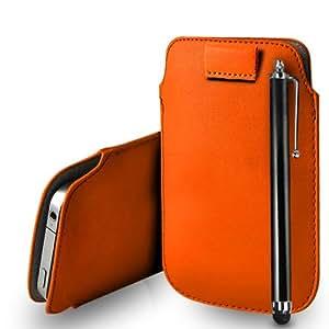 Nokia Lumia 525 cuero anaranjado Tire Tab caso de la cubierta Pouch + Touch Pen Stylus + paño de pulido