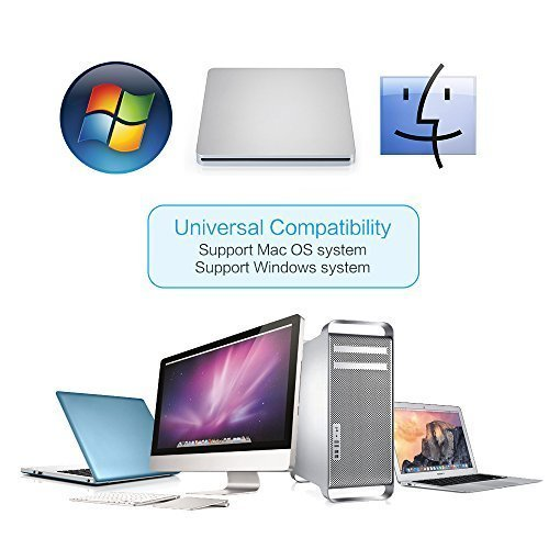 Ploveyy USB External DVD-Reader with CD-RW Burner Drive For All System Windows 2000/XP/Vista/Win 7/Win 8/Win 10 Notebook PC Desktop Computer for Apple Mac Macbook Pro/ Air iMac (Silver) by Ploveyy (Image #3)