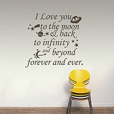 MairGwall Nursery Wall Decal Vinyl Nursery Quote Children Wall Sticker Baby Room Art Decor - I Love you to the moon & back to infinity and beyond Black: Baby