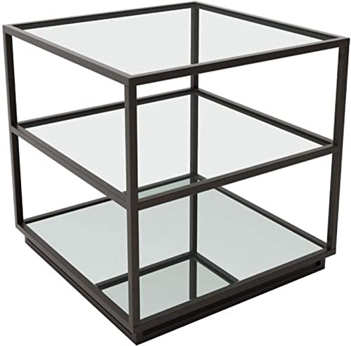 Zuo Modern 100754 Kure End Table, Distressed Black, Modern Mix of Clean Lines, Clear Two Glass Shelves, Mirrored Bottom Shelf, 150 lbs Weight Capacity, Dimensions 21.7 W x 21.9 H x 21.7 L