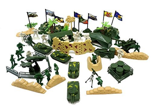 82 Pcs Army Military Play Set Soldiers Missiles Tanks Blockade Walls! (Military Toy Guns)