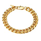 Hip Hop,Stainless Steel Chain Bracelet,Miami Cuban Link Bracelet,18K Gold Plated,Pulseira Masculina,Men Jewelry,PSH2910J-19