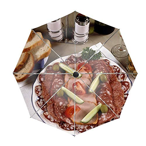 (Sausage Meats Pickles Olives Mushrooms Compact Travel Umbrella - Windproof, Reinforced Canopy, Ergonomic Handle, Auto Open/Close)
