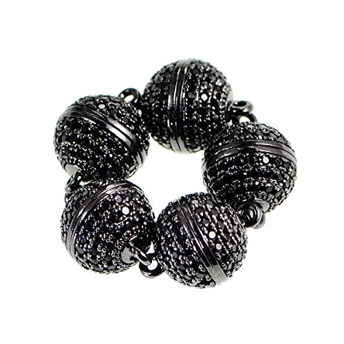 (AD Beads Zircon Magnetic Round Clasp Pave Connector (8mm, Black on Gunmetal (5)