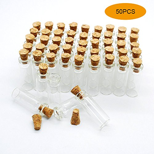 Tiny Glass Bottle (50pcs 1ml Small Mini Glass bottles Jars with Cork Stoppers/ Message Weddings Wish Jewelry Party Favors/ - Size: Small Mini Glass bottles Jars with Cork Stoppers/ Message Weddings Wish Jewelry Party Favors)