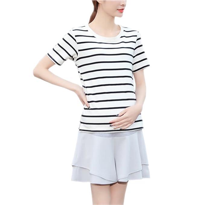 d55439c3b Fuyingda Falda de la gasa de la manera del embarazo de las mujeres  Pantalones cortos de