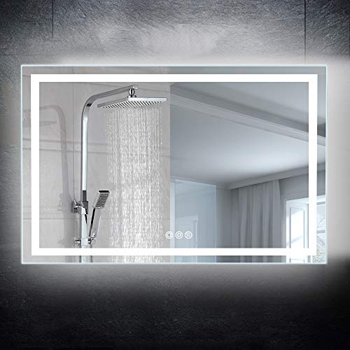 CASAMII 48x28 inch Led Lighted Wall Mounted Bathroom Vanity Mirror,Brightness Adjustable&Anti Fog - Mirrors Lighted Vanity Bathroom Led