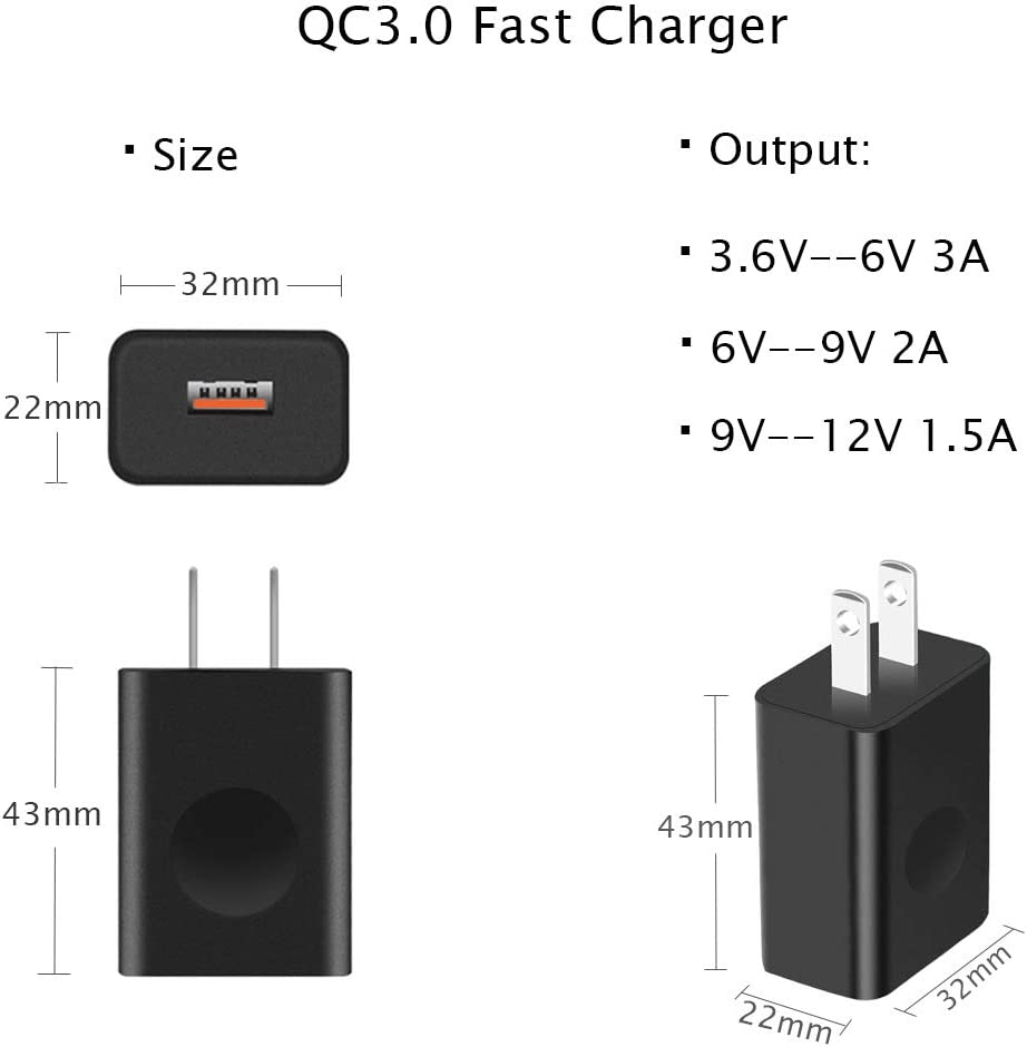 18W Fast Charger for Samsung Galaxy S10 S9 S8;Note 9 8;GoPro Hero 5 6 7 Black Session;LG Thinq G8 G7 G6 Stylo 4;HTC U11 10;Moto G6 Z3;JBL Charge 4 Power Adapter with Type-C Charging Cable