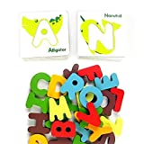 ABC Animal Puzzle | 26pcs Cheerful Ecofriendly Preschool Alphabet Animal Wooden Puzzle Cardboard Color Vary | Fun Learn Writing Riding Toddlers | 941