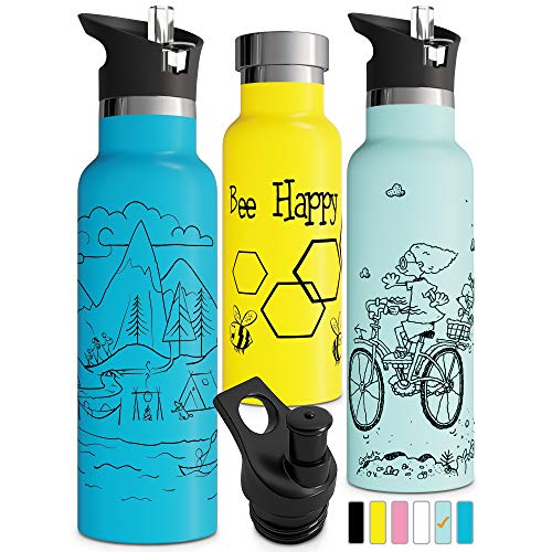 Vacuum Insulated Water Bottle with Straw Double Walled Stainless Steel Metal Thermos Sports Cap Eco Friendly Non Sweat Durable Finish Thermos for Kids Bike BPA Free 600ml Blue Thermal (20oz, Mint)